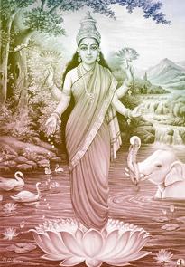 Lakshmî, der weibliche Aspekt des Vishnu, auch Padma, der Lotos genannt