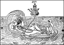 Vishnu und Lakshmî auf der Schlange der Unendlichkeit