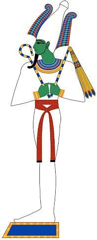 Die ägyptische Gottheit Osiris, geboren aus dem Ei.
