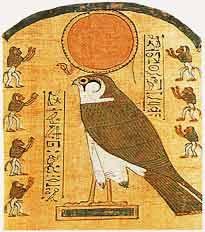 Der Sonnengott Re-Harachte in Gestalt eines Falken. Pyprus um 1350 v. Chr.