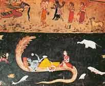 Vishnu ruht zwischen zwei Perioden der Emanation auf der zusammengerollten Ananta, der Schlange der Unendlichkeit. Gemälde, 17. Jh.